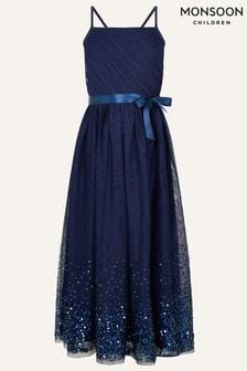 Monsoon Blue Lana Sequin Hem Maxi Dress
