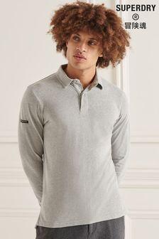 Superdry Grey Studios Long Sleeve Jersey Polo