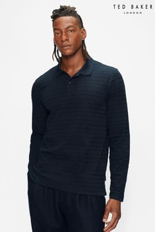 Ted Baker Chaser Ls Textured Polo Shirt