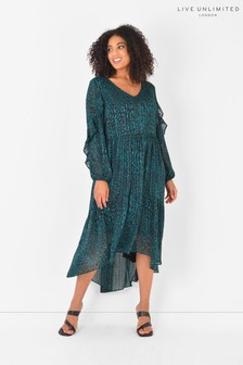 Live Unlimited Green Curve Forest Animal Stripe Tiered Dress