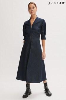 Jigsaw Blue Denim Zip Front Midi Dress