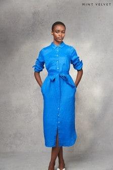 Mint Velvet Blue Linen Midi Shirt Dress