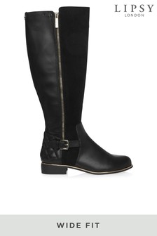 Lipsy Wide Fit Knee High Zip Quilted Riding Boots