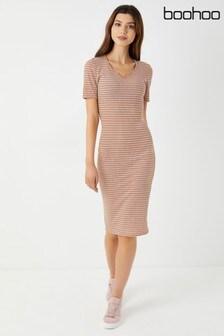 Boohoo V neck Short Sleeve Striped Midi Dress