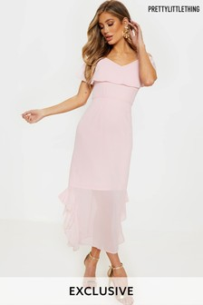 PrettyLittleThing Frill Hem Midi Dress