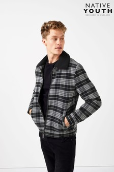 Native Youth Checked Sherpa Jacket