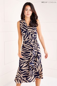 Mela London Wrap Front Midi Dress