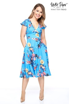Want That Trend Floral Printed Skater Dress