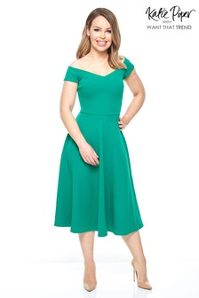 Want That Trend Emerald Skater Dresses