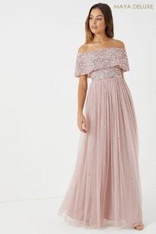 Maya Oversized Bardot Maxi Dress