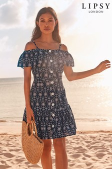 Lipsy Embroidered Button Dress