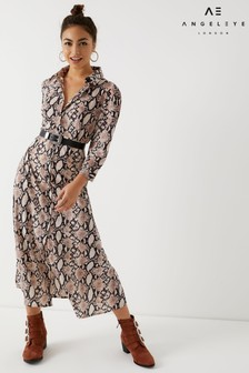 Angeleye Snake Print Shirt Dress
