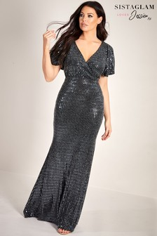 Sistaglam Loves Jessica Lurex Sequin Wrap Maxi Dress