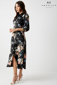 Angeleye Long Sleeve Floral Shirt Dress