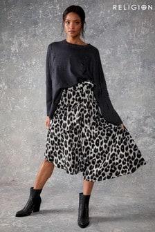 Religion Leopard Print Midi Skirt