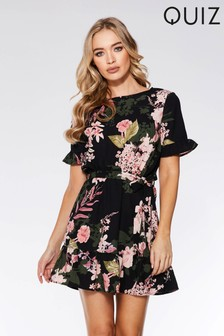 Quiz Floral Print Frill Skater Dress