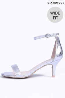 Glamorous Patent Wide Fit Mid Heel Sandals