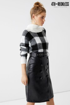 4th & Reckless Faux Leather Button Up Pencil Skirt