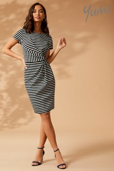 Yumi Striped Ruched Jersey Dress