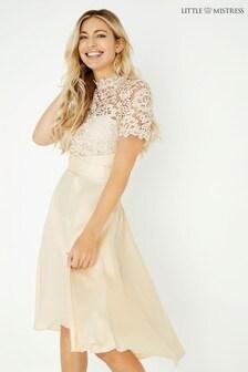 Little Mistress Satin Prom Dress With Crochet
