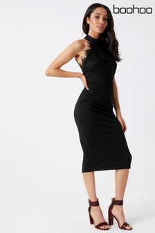 Boohoo Lace High Neck Bodycon Dress