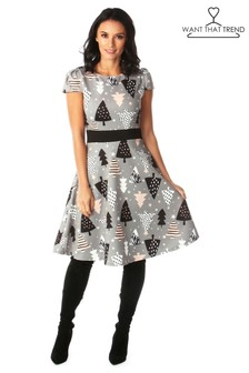 Want That Trend Mummy and Me Grey Multi Pattern Trees Christmas Skater Dress