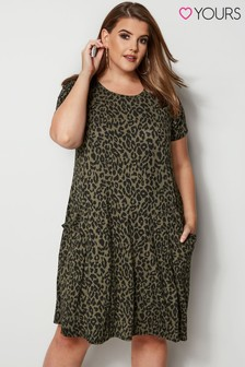 Yours Animal Print Drape Pocket Dress