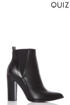 Quiz Block Heel Ankle Boots