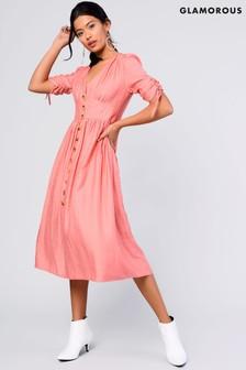 Glamorous Button Front Midi Dress