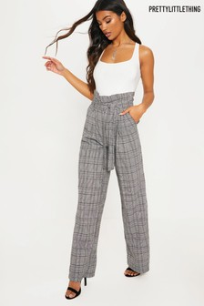 PrettyLittleThing Check Paperbag Wide Leg Trouser