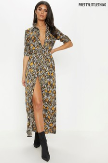 PrettyLittleThing Snake Print Maxi Shirt Dress