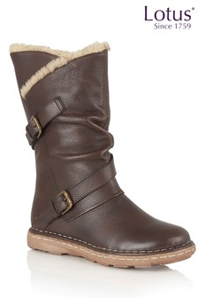 Lotus Leather High Leg Boot