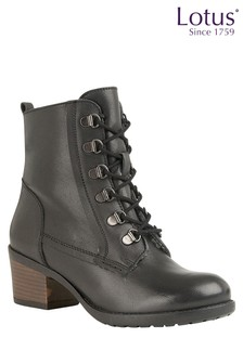 Lotus Leather Lace Up Ankle Boot