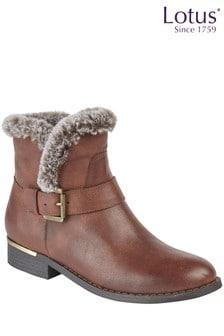 Lotus Faux Fur Ankle Boots
