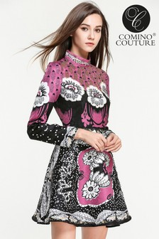 Comino Couture High Neck Long Sleeve Dress