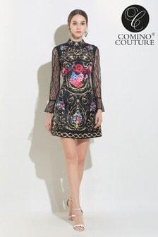 Comino Couture Printed High Neck Mini Dress