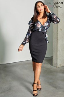 Sistaglam Loves Jessica Floral Print Bodycon Midi Dress