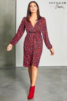 Sistaglam Loves Jessica Animal Print Midi Dress