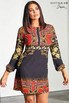 Sistaglam Loves Jessica Scarf Print Shift Dress