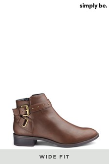 Simply Be Wide Fit Buckle Detail Boots