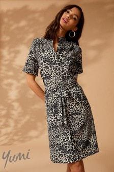 Yumi Leopard Print Shirt Midi Dress