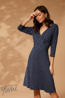 Yumi Spot Print Midi Dress