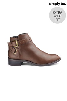 Simply Be Extra Wide Fit Buckle Detail Ankle Boots