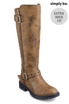 Simply Be Extra Wide Fit Quilted Buckle Detail Biker Boots