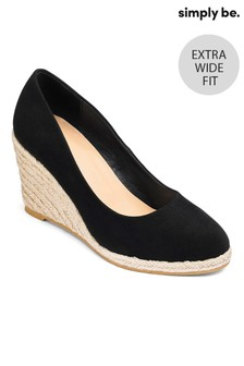 Simply Be Extra Wide Fit Espadrille Wedge Court Shoes