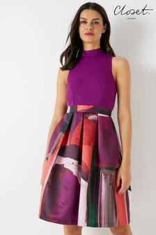 Closet Multi Print 2-In-1 Dress
