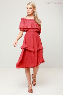 Urban Bliss Lace Asymmetric Bardot Dress