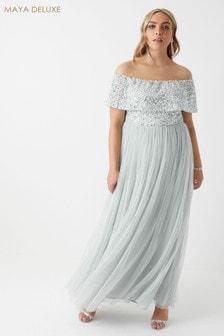 534a5722548 Maya Curve Bardot Sequined Maxi Dress