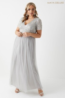 Maya Curve Sequined Maxi Dress