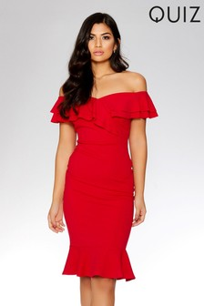 Quiz Bardot Double Frill Midi Dress